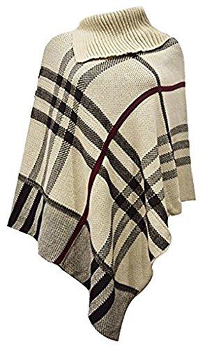 Friendz Trendz--Le Donne signore alto collo Tartan Wrap lavorato a maglia Poncho Capo dello scialle Sz 8-14 Beige