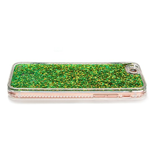 Cover iPhone 6 Custodia iPhone 6s Liquido Anfire Trasparente Rigida Duro Plastica PC Case per Apple iPhone 6 / 6s (4.7 Pollici) Sabbie Mobili Shell 3D Bling Glitter Floating Quicksand Copertura Hard S Verde