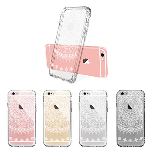 iPhone 6s Hülle, iPhone 6s Case, MOSNOVO Henna Mandala Blumen Weiß Muster Transparent TPU Bumper mit Hart Plastik Durchsichtige Schutzhülle für Apple iPhone 6 6s (4,7 Zoll) (Mandala Henna Tattoo) Henna Mandala