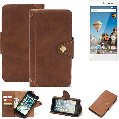 K-S-Trade Handy Hülle für General Mobile GM 5 Schutzhülle Walletcase Bookstyle Tasche Handyhülle Schutz Case Handytasche Wallet Flipcase Cover PU Braun (1x)