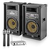 """Set JD PA-Party """"Yellow Star 10""""  2 Casse Attive Stereo-karaoke da 400 Watt  4 Ohm  Bassreflex  Amplificatore Integrato  Effetto Echo  Porta USB SD MP3  2 Microfoni Senza Fili  Centralina  Delay microfono impostabile"""
