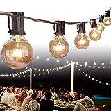 Garten Lichterketten,Weyty Lichterkette Außen 7.62M/25FT G40 Hängend Lichterkette Glühbirne,Wasserdicht Globus Schnur Lichterkette für Patio,Café Bars,Garten,25 Birnen,2 Ersatzbirnen,Warmweiß