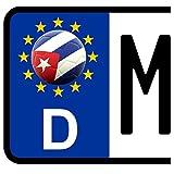 3 x Kennzeichen-Aufkleber Ball KUBA Flagge KFZ Motorrad FanShirts4u