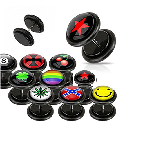 foresteel-jewellery-stainless-clear-epoxy-dome-logo-top-black-acrylic-fake-plug-with-o-rings-rainbow