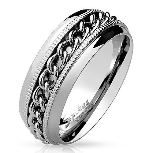 nner Ring Edelstahl Silber - Ring für Damen & Herren mit Kette - drehbarer SCHMUCKRING für Frauen & Männer - EDELSTAHLRING Ketten-Ringe Silber ()