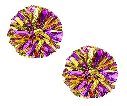 Black Temptation Set von 2 schönen Cheerleading Pom Poms Cheerleaders Sport Zubehör, lila (Lila Cheerleading Uniformen)