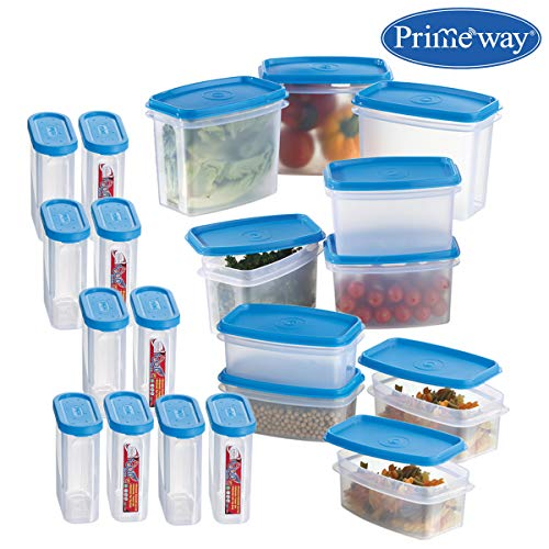 Primeway® Airtight Modular Kitchen Food Storage Containers, 275, 500, 750 and 1000ml, 20 Pcs Set (Blue)