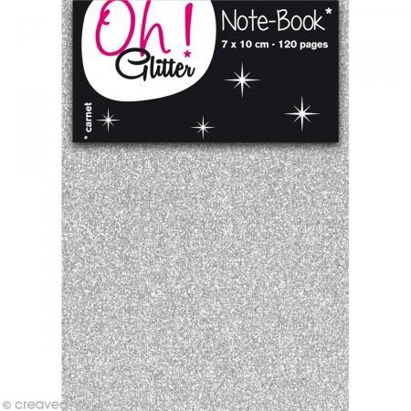 Oh ! Glitter Carnet d'idée glitter a décorer - 7x10cm - argent