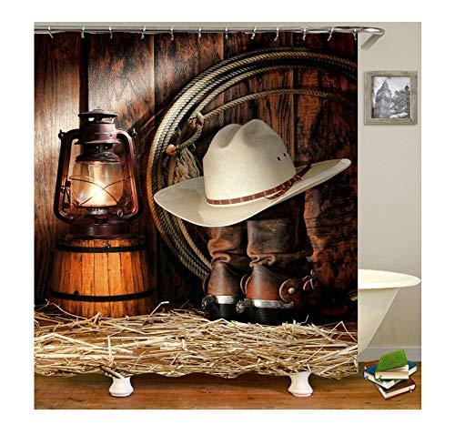 Amody Duschvorhang Western Cowboy Stil Hut Schuhe Elektrische Licht 3D Digitaldruck Mehltau Beständig Wasserdicht Bad Vorhang Holz Farbe Größe 120X180CM -