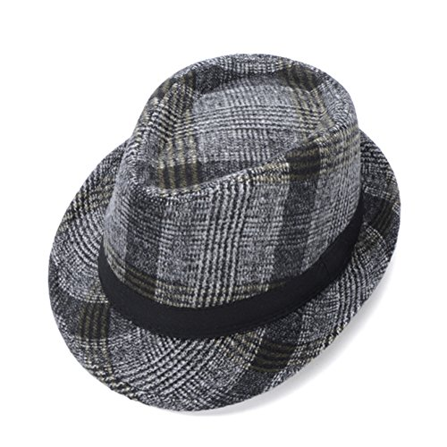 Chapeau/la mode de la marée coréenne petit plaid chapeau/ chapeau de jazz britannique Hommes/ printemps Femme et d'automne et d'hiver chapeaux de laine/Vieux chapeau C