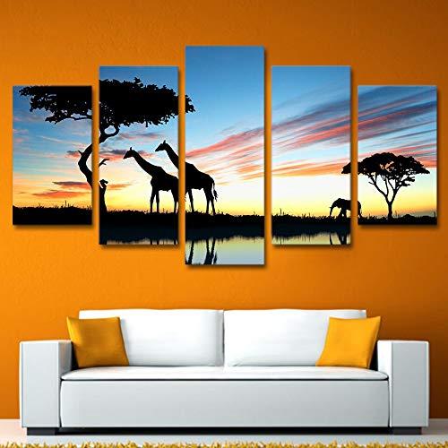 RMRM Moderno Lienzo Arte de la Pared Pintura Pintura Fotos Jirafa Elefantes...
