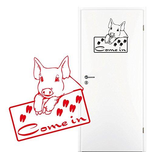 Come in Türschild Door Sticker Aufkleber mit dem Schweinchen Pig Motiv Türtattoo |KC020