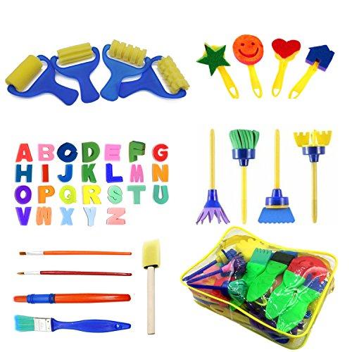 Lumsburry 48 Stück Malerei Schwamm Farbroller Pinsel für Kinder Art und Craft Kinder Malen Early DIY Learning (mit Tasche)