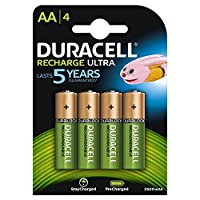 Duracell AA 2500mAh Recharge Ultra Rechargeable Batteries - Pack of 4 - Pre Charged/Stay Starged Replace 2400 (4 Pack)