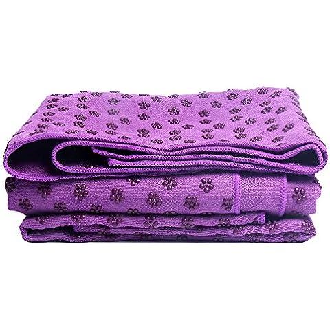 reamic Yoga asciugamano tappetino antiscivolo massaggio gitness coperta multifunzione verde ambientale per protezione blu e viola, Viola, viola