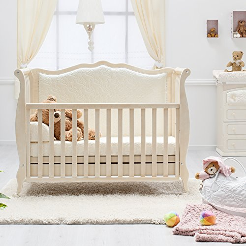 Besonderes Babybett 63×123 | Umbaubett mit gepolsterter Rücklehne Rinascimento antikweiß – erweiterbar zur Couch - 2