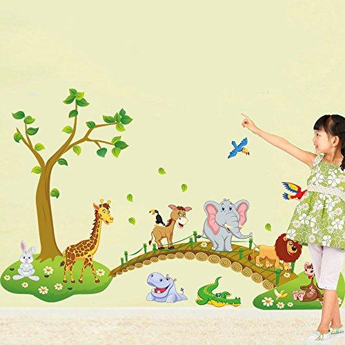 rainbow-fox-albero-fiore-colorato-simpatici-gufi-leone-cervo-adesivi-murali-camera-dei-bambini-vivai