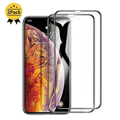 Humixx Panzerglas für iPhone XS Max(2 Stück),3D Vollständigen Abdeckung,Einfache Installation,Anti-Bläschen,9H Glas Anti-Kratzen,mit Positionierhilfe,Perfekt Schutzfolie für iPhone XS Max-Schwarz