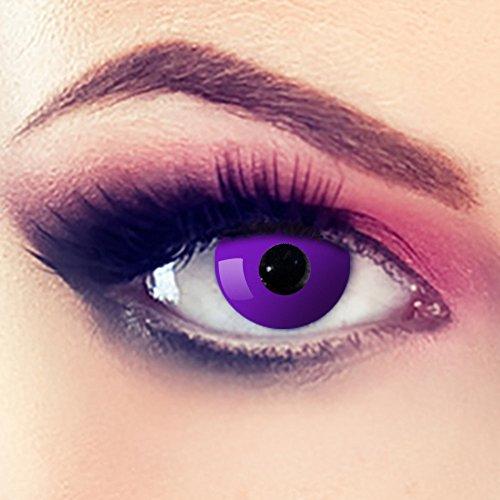 Taffstyle® Farbige Linsen crazy Fun Halloween Karneval Kostüm Kontaktlinsen Motivlinsen 3 Monatslinsen ohne Stärke Lila - Purple Eye