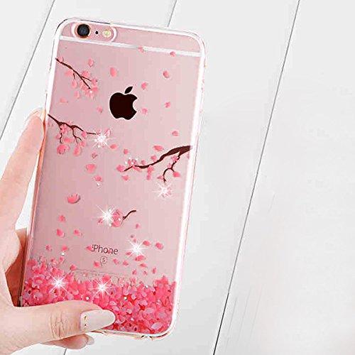 Custodia iPhone 6, iPhone 6S Cover Silicone, SainCat Cover per iPhone 6/6S Custodia Silicone Morbido, Bling Glitter 3D Design Transparent Silicone Case Ultra Slim Sottile Morbida Transparent TPU Gel C ciliegia