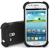 XAiOX Galaxy S3 Mini i8190 Outdoor Silikon Hülle inkl. Displayschutzfolie für Samsung GT-i8190 Galaxy S III S3 Hülle Case Perfekter Schutz für Baustelle, Sport, Outdoor, Reisen - schwarz