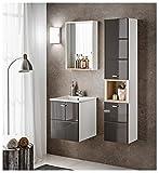 naka24 FINKA 40 cm Badmöbel Set mit Waschbaecken Hochglanz (grau, Waschtisch Spiegelschrank Hochschrank)