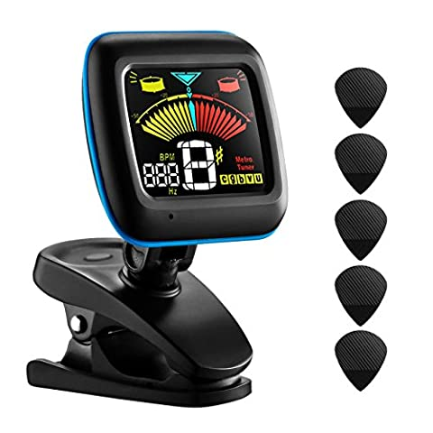 Guitar Tuner, LiSmile 2 in 1 Clip-on Electronic Pitch Tuner and Metronome for Guitar, Bass, Violin, Ukulele, and Chromatic Tuning with LED Colorful Display, 5 Picks and Battery Included