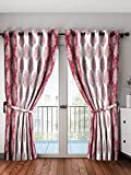 Home Spark Paisley 2 Pieces Polyester Maroon Door Curtains - 7 feet