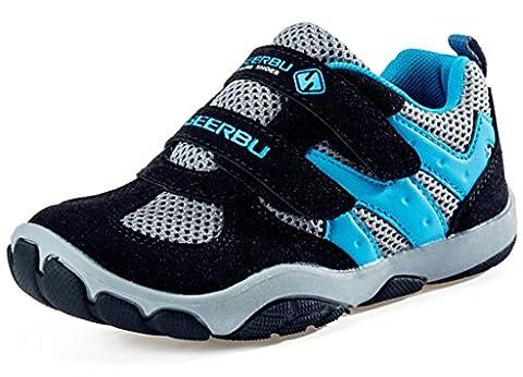 DADAWEN Boys' Casual Mesh Sneakers Outdoor Running Shoes-Black EU 40