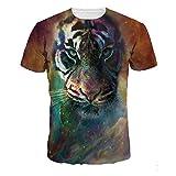 T-Shirts,T-Shirt Impression 3D Col Rond Unisexe, Couple Fashion T-Shirt Tigre Avatar Chemise À Col Court T, Couleurs Mélangées, 2XL...