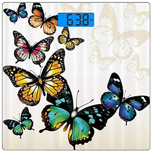 Präzisions-Digital-Körpergewicht-Waage Butterfly Ultra Slim Gehärtetes Glas-Personenwaage Genaue Gewichtsmessungen, Monarchfalter-Schattierungen und Schatten-Hintergrund, Beigebraun