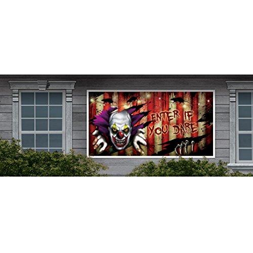 n Banner Horror Plakat Plane Clown Grusel Wanddeko Poster Halloweenparty Wanddekoration (Halloween-85)