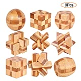 YGZN 9 Piezas Cubo Rompecabezas 3D de Madera del Enigma Juego Puzle - IQ Juguete Educativo - 3D Brain Teaser Puzzle de Madera - Juego Niños...