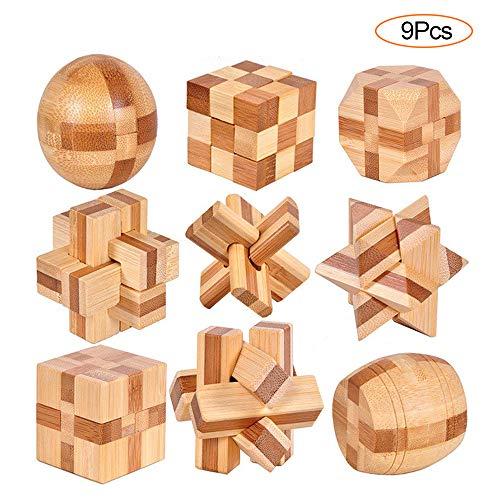 YGZN 9 Stück Denksportaufgaben Cube - Knobelspiele Set - Holzspielzeug - 3D Puzzle - Geduldspiel aus Holz - Logisches Spielzeug und Geschenk für Kinder und Erwachsene (Wooden Puzzles 9Set)