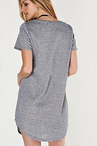 Frauen Haben Kurze Ärmel Patchwork - Mini - Kleid Grey