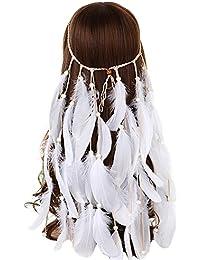 FANHOM Pluma bohemia banda Fascinator banda de pelo nupcial accesorios para el cabello de la boda Corona Headpiece