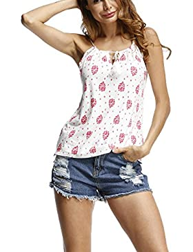 Mujer Flores Imprimir Camisa Estampadas Sin Mangas Chaleco Tank Top Blusa Camiseta Blanco XL