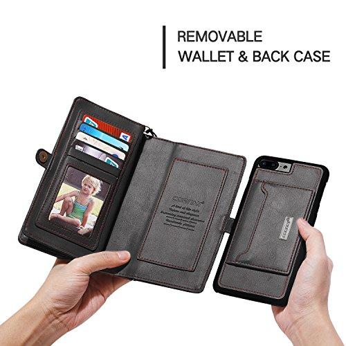 cornmi iPhone 7Plus Case, abnehmbare Geldbörse Phone Cover Case Premium PU Leder 10Kartenfächer mit integriertem Ständer Vintage 2in 1Reißverschluss Handtasche braun braun schwarz