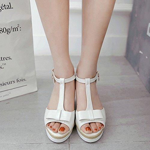 RizaBina Femmes Elegant T-strap Peep Toe Compensees Plateforme Sandales De Bowknot Blanc