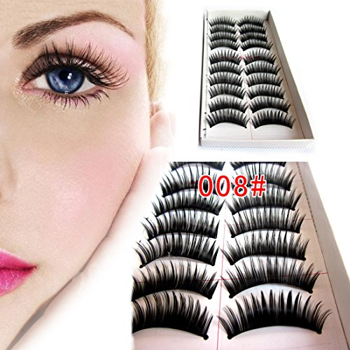 M-Queen 10 Paires Faux Cils Noir Epais Eye Lashes Long Yeux Colle Cosmetique # 063