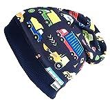 Wollhuhn ÖKO Beanie-Mütze dunkelblau mit bunten Autos für Jungen (aus Öko-Stoffen, Bio), 20160204, Größe M: KU 51/53 (ca 3-5 Jahre)