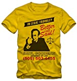 Bisura T-Shirt Better Call Saul Breaking Bad By (XL Uomo, Giallo)