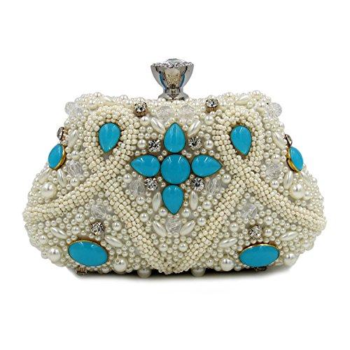 WYB Farbe Bead Stickerei Abendessen/DIAMANT Abendtasche/aus hochwertigem Pearl/Clutch/Kette Handtasche Blau