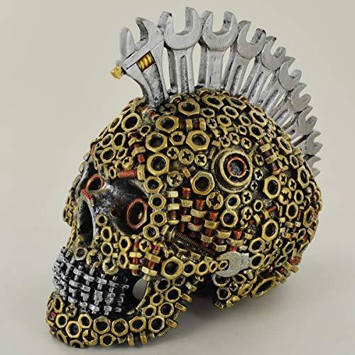 Prezentscom Schraubenschlüssel für Muttern und Bolzen, Mohawk Totenkopf, klein, gruselig, Halloween- oder Gothic-Deko, für Fantasy-Gothic-Fans