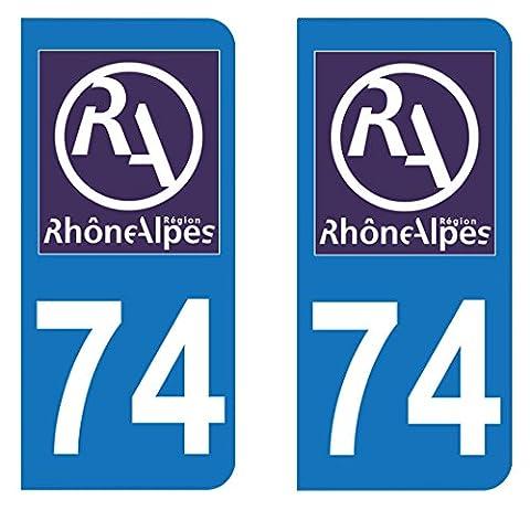 Paire Sticker immatriculation 74 - Logo Rhône Alpes