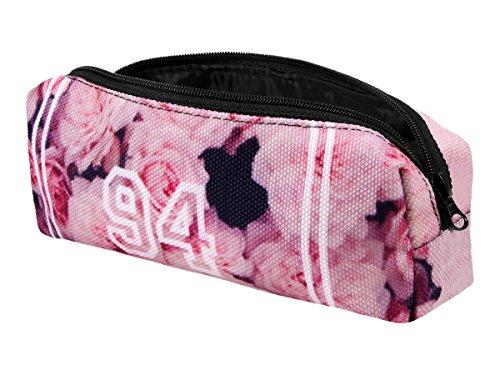 Astuccio rettangolare portapenne beauty case per strumenti di scrittura trucco fashion borsetta multifunzionale multiuso marca Viper di alta qualità con chiusura zip, molto elegante resistente, PeC-019 Rose
