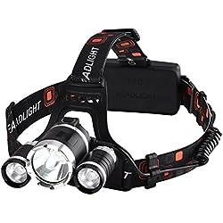 Linterna Frontal LED de VicTsing, Alta Potencia 6000 Lúmenes, Tiene 4 Tipos de Luz ,La batería 18650 dura alrededor de las 6 HORAS y Hasta 500 Metros Para Camping, Pesca, Ciclismo, Carrera, Caza etc.