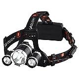 Linterna Frontal LED de VicTsing, Alta Potencia 6000 Lúmenes, Tiene 4 Tipos de Luz ,La batería...