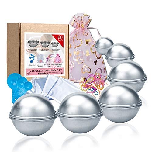 Badebomben-Formenset 60teilig-12Stück, 3Größen DIY, Form, Löffel, Taschen, Geschenktüten und Gummiband, Set für Ihre eigenen Fizzles Badebomben von Swisselite