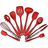 Enko Utensilios Cocina de Silicona 10 Piezas, Juego de Cocina Resistente al Calor, pinzas, batidor Silicona, cepillo, espátulas, cuchara ranurada, cucharas de cocina, paleta de arroz, espátula ranurada, cuchara de sopa.(rojo)